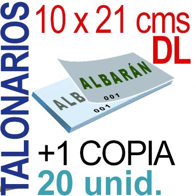 Autocopiativo -  10 x 21 cms -DL-  2,000 unidades Original + Copia - agrupadas en 20 Talonarios - Numerados
