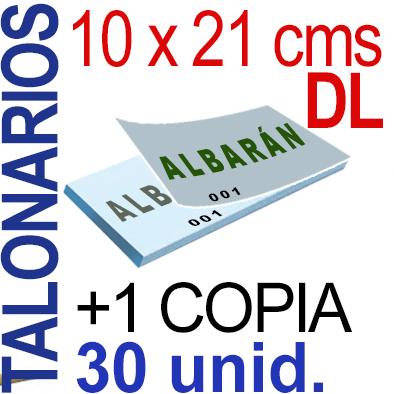 Autocopiativo -  10 x 21 cms -DL-  3,000 unidades Original + Copia - agrupadas en 30 Talonarios - Numerados