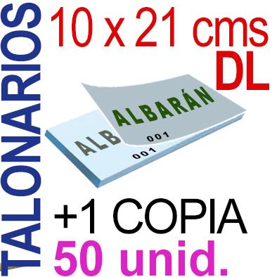 Autocopiativo -  10 x 21 cms -DL-  5,000 unidades Original + Copia - agrupadas en 50 Talonarios - Numerados