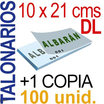 Autocopiativo -  10 x 21 cms -DL-  10,000 unidades Original + Copia - agrupadas en 100 Talonarios - Numerados