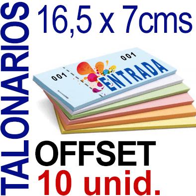 16,5 x 7cms - 500 unidades agrupadas en 10 Talonarios -Grapados Numerados- 1 troquel para corte - Papel 90 grm.