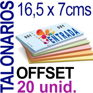 16,5 x 7cms - 1,000 unidades agrupadas en 20 Talonarios -Grapados Numerados- 1 troquel para corte - Papel 90 grm.