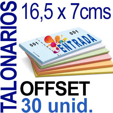 16,5 x 7cms - 1,500 unidades agrupadas en 30 Talonarios -Grapados Numerados- 1 troquel para corte - Papel 90 grm.