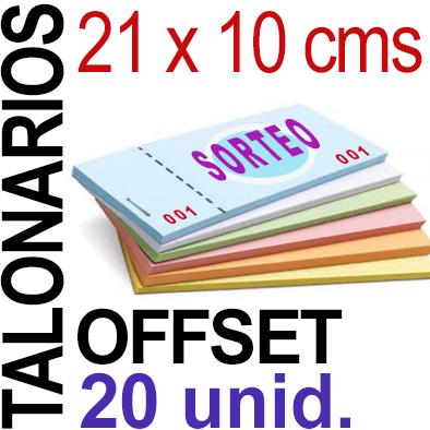 21 x 10 cms - 1,000 unidades agrupadas en 20 Talonarios -Grapados Numerados- 1 troquel para corte - Papel 90 grm.