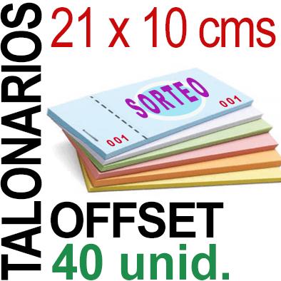 21 x 10 cms - 2,000 unidades agrupadas en 40 Talonarios -Grapados Numerados- 1 troquel para corte - Papel 90 grm.