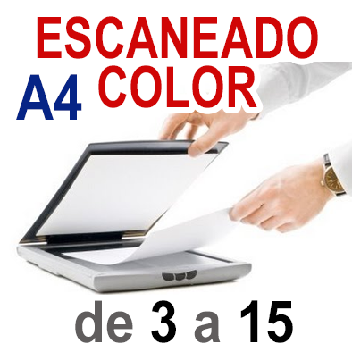 Escaneado Color A4  de 3 a 15