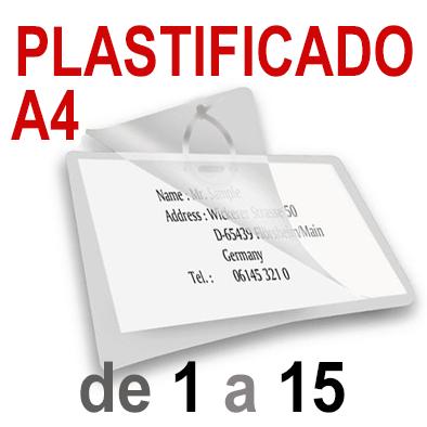 A4 Plastificado. De 1 a 15