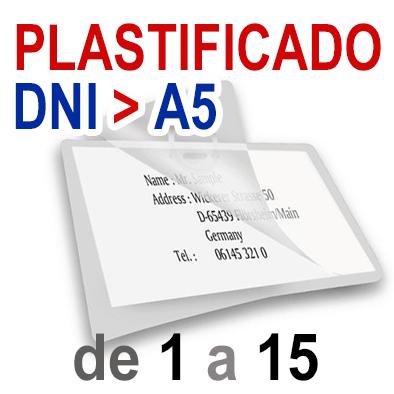 Plastificado DNI - CARNET - TARJETA POSTAL - MEDIO FOLIO