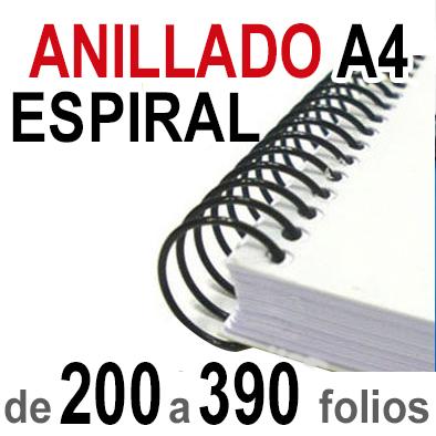 Anillado Espiral - A4 - De 200  a 390 folios