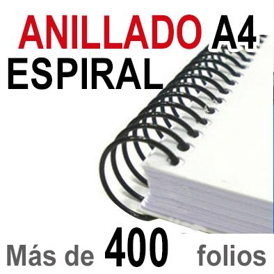 Anillado Espiral - A4 - Más de 400 folios