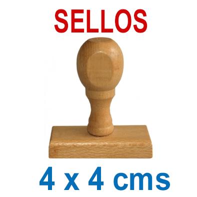 Sello Tradicional - Madera y Caucho - 4x4cms
