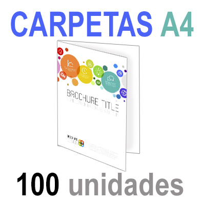 100  Carpetas 21x29,7 (A4) Impresión 1 cara A todo Color 1 cara Papel 300grm.