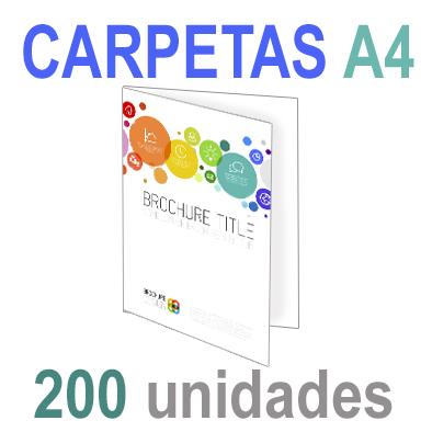 200  Carpetas 21x29,7 (A4) Impresión 1 cara A todo Color 1 cara Papel 300grm.