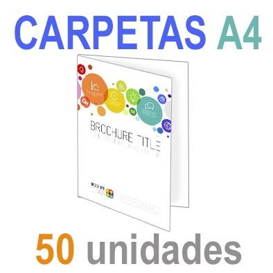 50  Carpetas 21x29,7 (A4) Impresión 1 cara A todo Color 1 cara Papel 300grm.