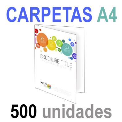 500  Carpetas 21x29,7 (A4) Impresión 1 cara A todo Color 1 cara Papel 300grm.
