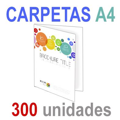300  Carpetas 21x29,7 (A4) Impresión 1 cara A todo Color 1 cara Papel 300grm.