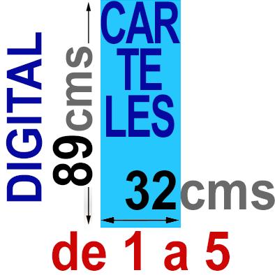 Cartel  89x32 - De 1 a 5  Impresión Digital en papel póster