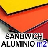 Sandwich de Aluminio hasta 3,5 mm. x Metro Cuadrado.Blanco, Negro o Color