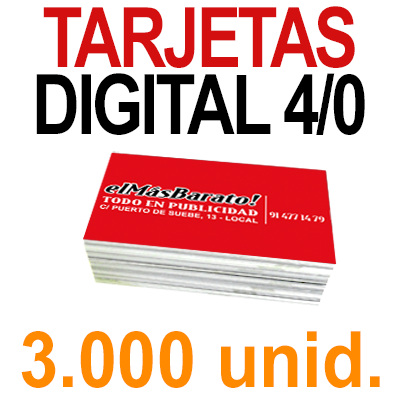 3,000 Tarjetas 8,5x5,5 - Impresión Premium Digital Color en 350 grms - 1 cara