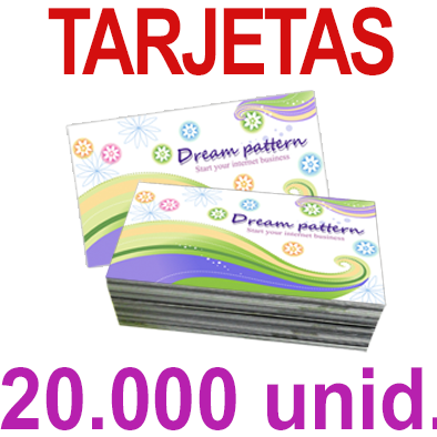 20,000   Tarjetas 8,5x5,5 - Impresión Offset Color en 350 grms - 1 ó 2 caras