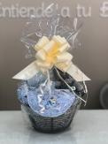 cesta gris y azul pequeña