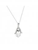 Colgante de plata de ley 925 bañada en rodio con corazón y mano de fátima con circonitas