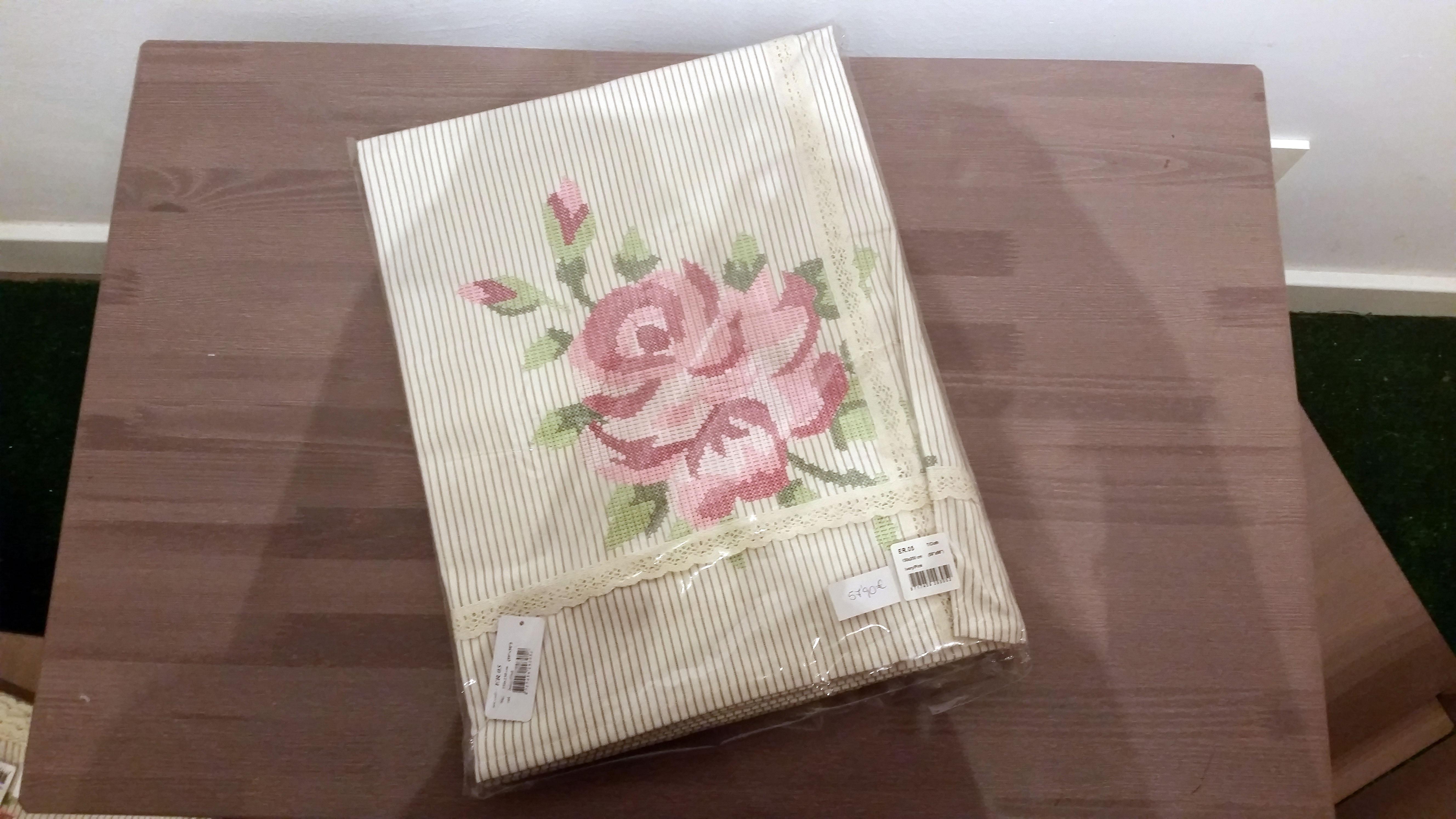 Servilletas tela 6 piezas flor bordada