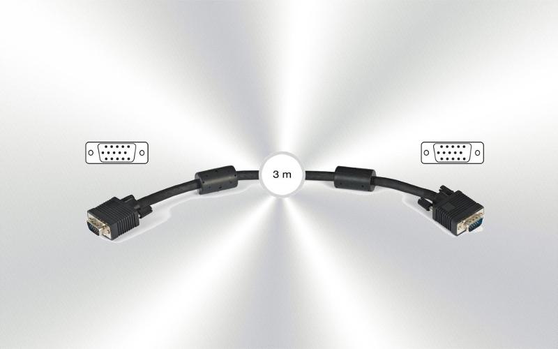 Cable terminado  (cable 3) VGA dB15-m a dB15-h FONE 3m -0020-0010-
