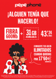 Fibra 600Mb  1 línea móvil 31 GB acumulables Llamadas ilimitadas