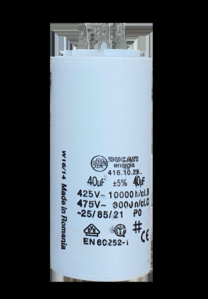 Rozběhový kondenzátor 40uF/450V, Faston 6.3mm