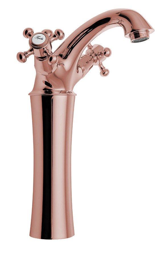 ANTEA stojánková umyvadlová baterie vysoká s výpustí, výška 245mm, růžové zlato