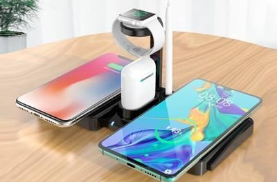 4-in-1 draadloos oplaadstation voor smartphones, Apple Watch en Apple Airpods