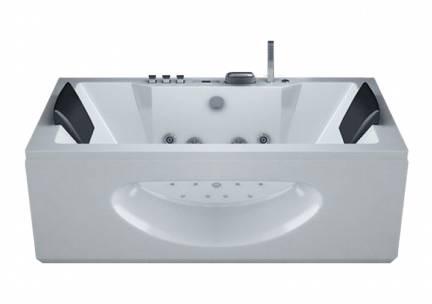 Whirlpool Bad Lumini Half Vrijstaand Rechthoek 2 Persoons 90x182x65.5cm Thermostaatkraan Luchtmassage LED Verlichting