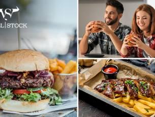 Burger of spareribs + friet bij Wall Stock 61