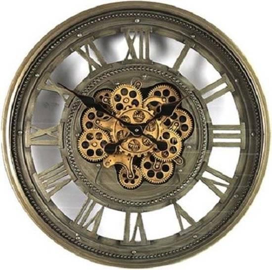 Wandklok industrieel James - radarklok grijs goud - wandklok 60cm