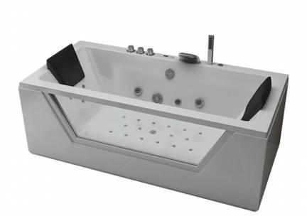 Whirlpool Bad Luxury Half Vrijstaand Rechthoek 2 Persoons 90x185x68cm Thermostaatkraan Luchtmassage LED Verlichting