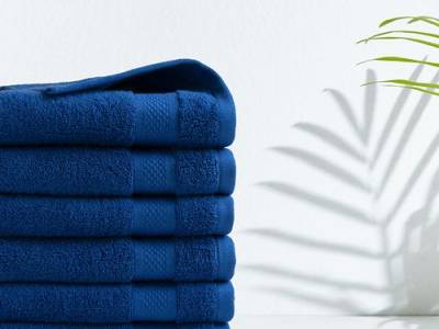 6 blauwe handdoeken