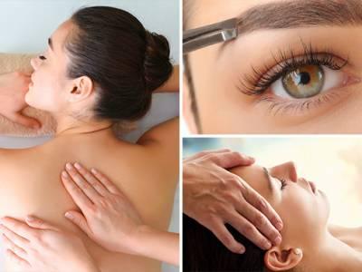 Rugmassage, gezichts- of wenkbrauwbehandeling