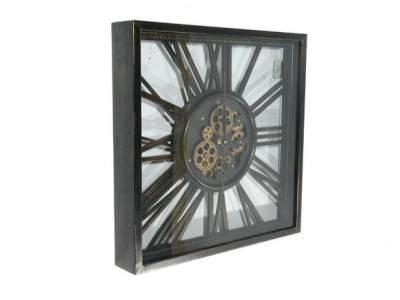 Wandklok klok industrieel metaal open vierkant tandwielen antique black 53 cm