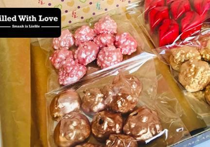 Thuisbezorgd of afhalen: giftbox vol zoetigheden