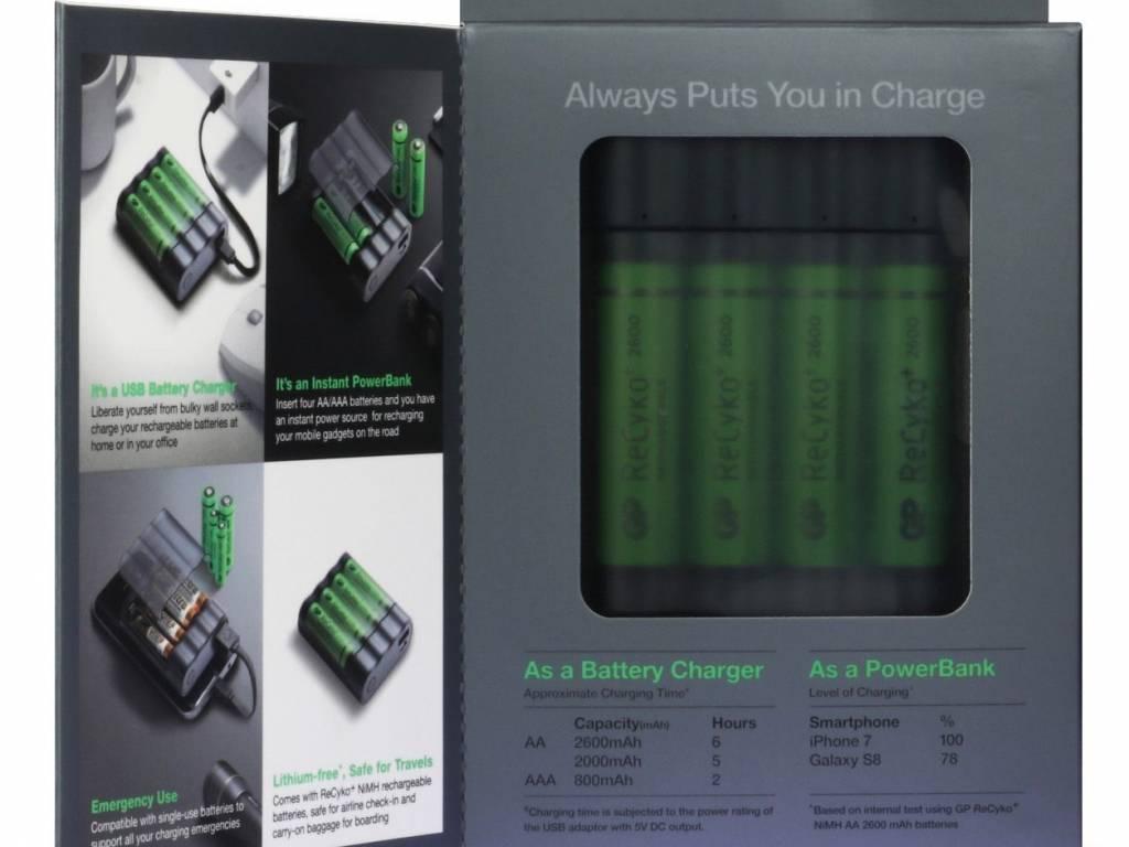 GP Charge Anyway Powerbank incl. 4x AA batterijen 2600mAh