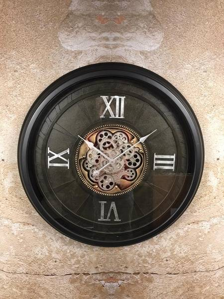 Klok tandwiel zwart - industrieel - metaal - Ø66cm