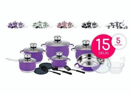 Herenthal 15-delige RVS pannenset met kook accessoires in meerdere kleuren!