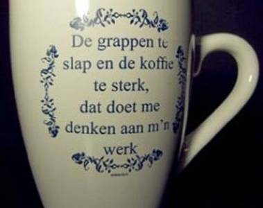 Tekst kopje De grappen te slap ... / Delfts Blauw
