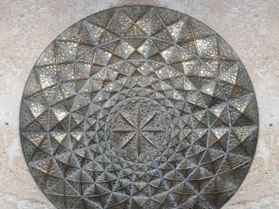 Wanddecoratie mandala metalen muurdecoratie 3D brons 87 cm