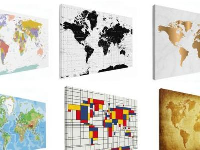 Wereldkaart op canvas (8060 cm)