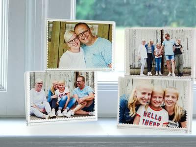 Set van 4 glazen blokken met eigen foto's
