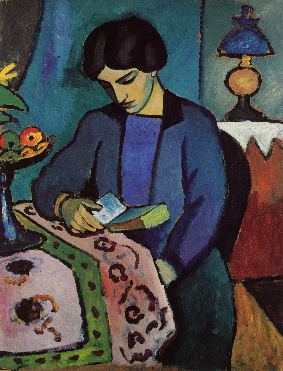 Blue Girl Reading by August Macke via DailyArt app, your daily dose of art getdailyart.com