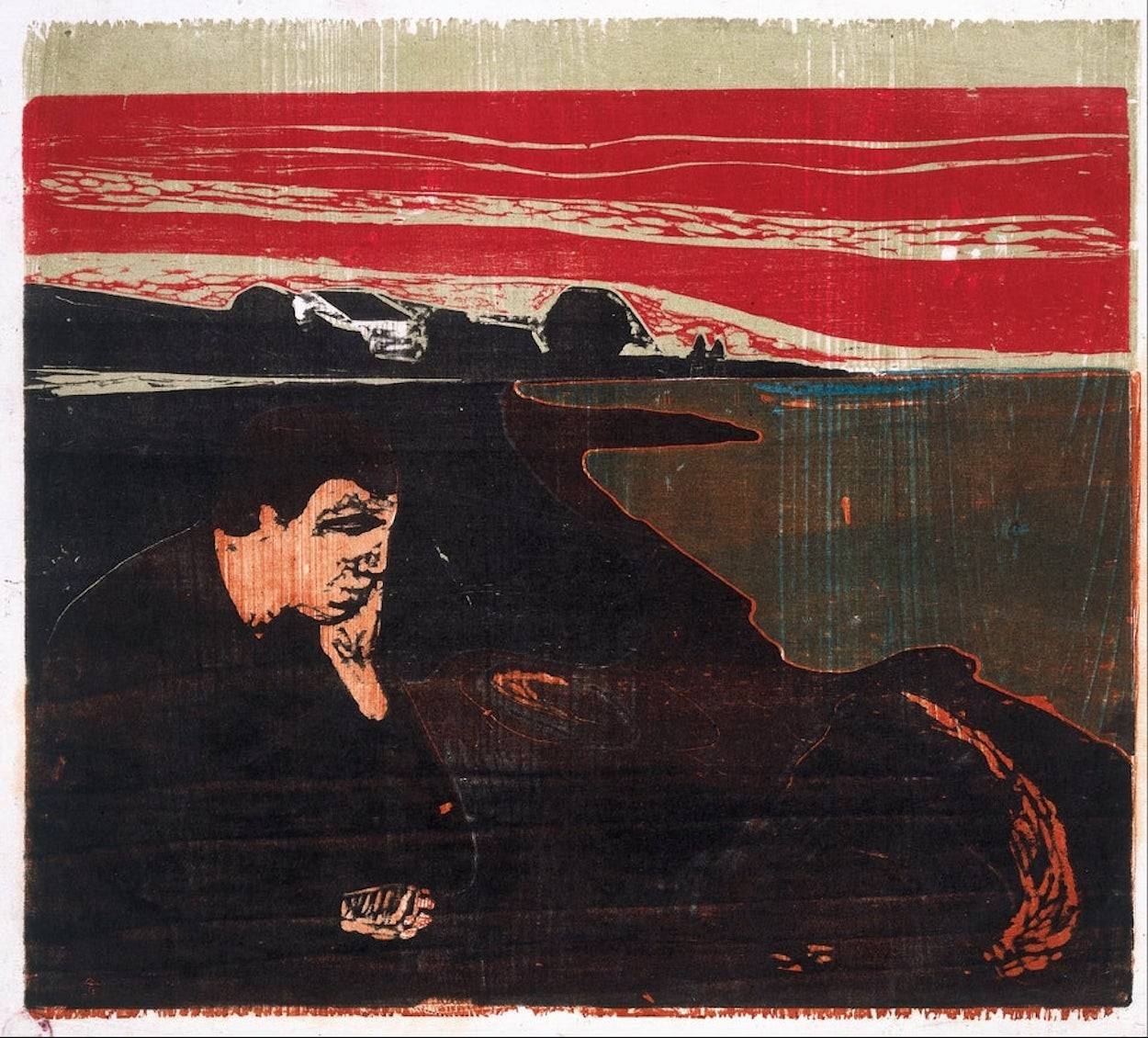 Evening. Melancholy I by Edvard Munch via DailyArt app, your daily dose of art getdailyart.com