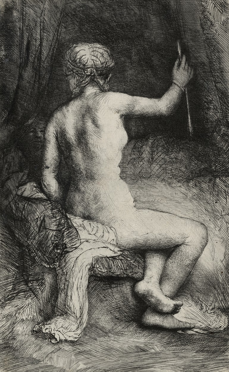 Woman with an Arrow by Rembrandt van Rijn via DailyArt app, your daily dose of art getdailyart.com